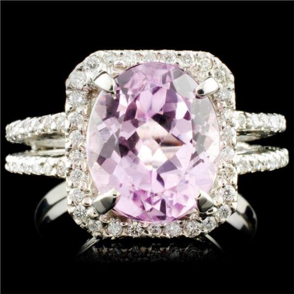 14K Gold 5.40ct Kunzite & 0.44ctw Diamond Ring