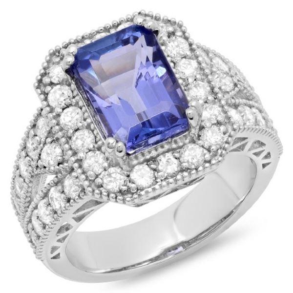 14K Gold 5.00ct Tanzanite & 1.35ct Diamond Ring