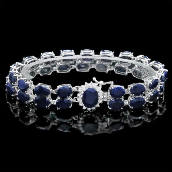 14k Gold 50.00ct Sapphire & 0.55ct Diam Bracelet