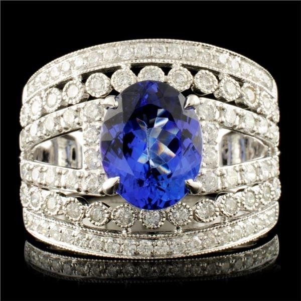 14K Gold 2.28ct Tanzanite & 0.96ctw Diamond Ring