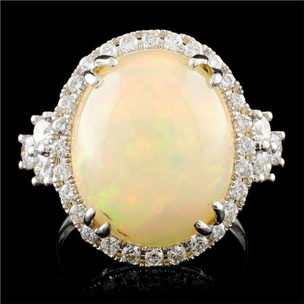 14K Gold 8.95ct Opal & 0.88ctw Diamond Ring