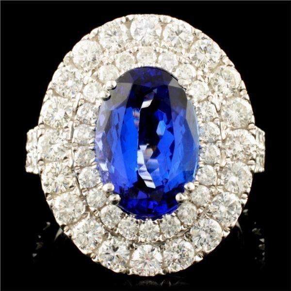 18K Gold 4.02ct Tanzanite & 2.57ctw Diamond Ring