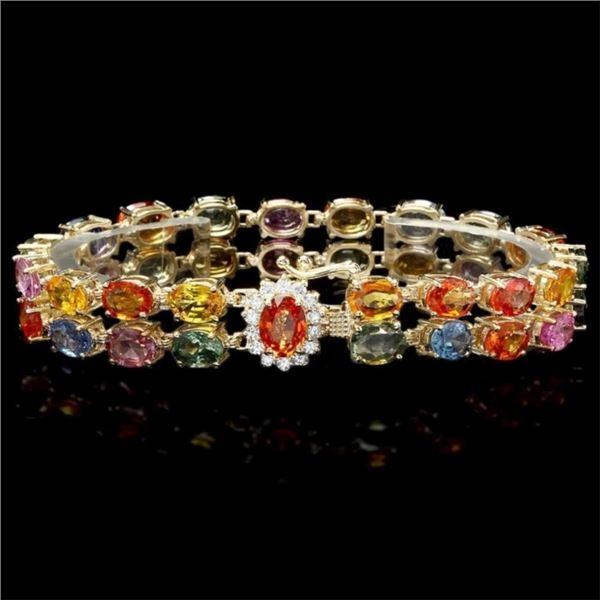 14k Gold 35.00ct Sapphire & 0.50ct Diam Bracelet