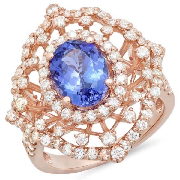 14K Gold 2.50ct Tanzanite & 1.30ct Diamond Ring