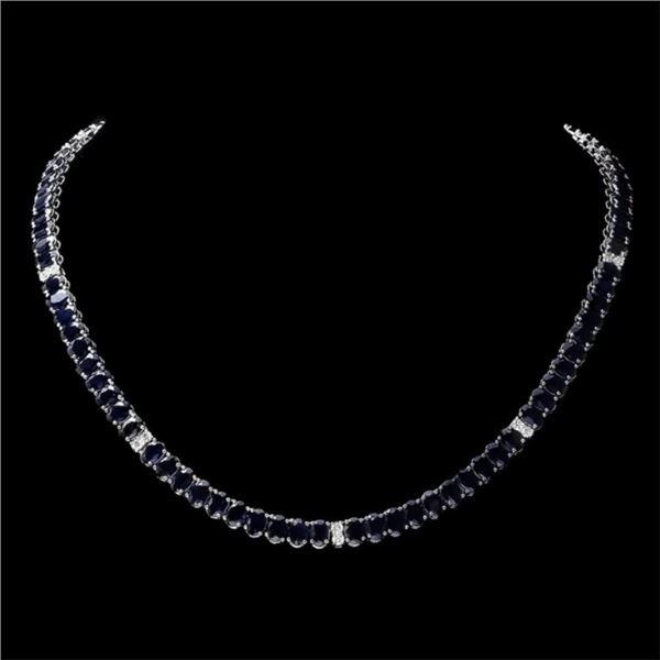 14k Gold 55.00ct Sapphire & 1.30ct Diam Necklace