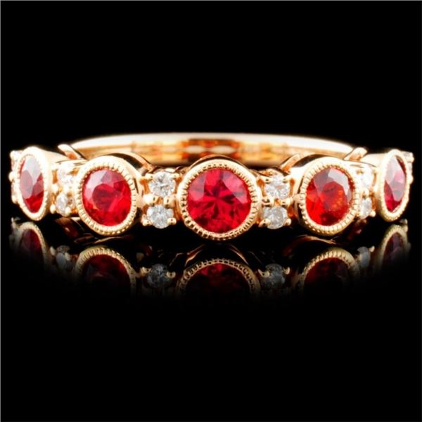 14K R Gold 0.84ct Sapphire & 0.13ct Diamond Ring