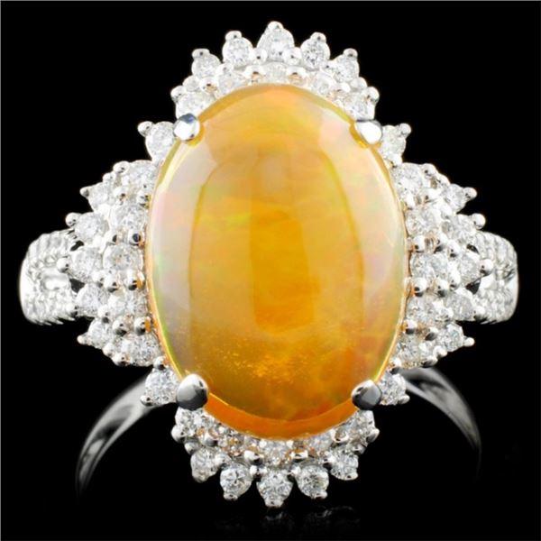 18K Gold 2.75ct Opal & 0.52ctw Diamond Ring