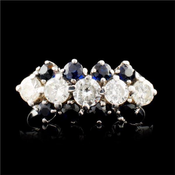 14K Gold 0.59ct Sapphire & 0.61ctw Diamond Ring