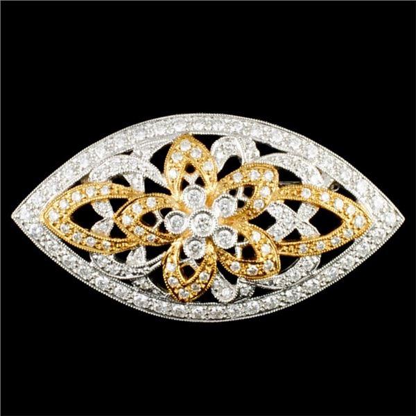 18K Gold 1.27ctw Diamond Brooch