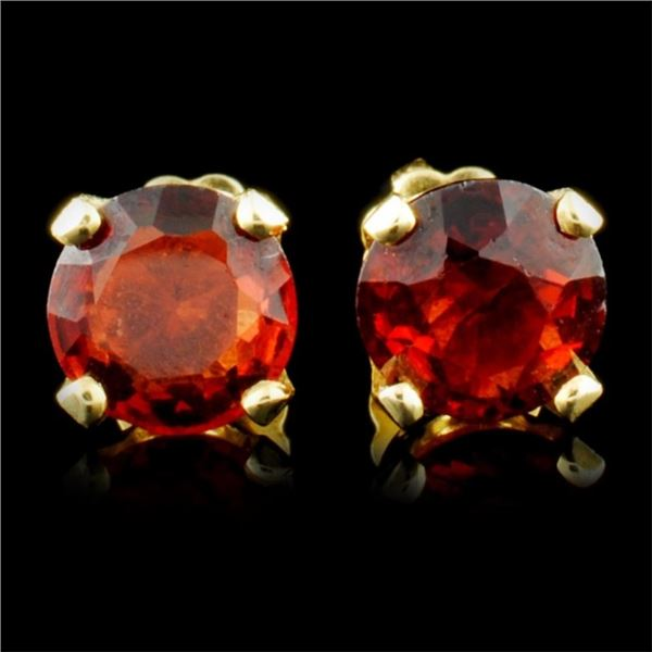 14K Gold 2.24ct Garnet Earrings