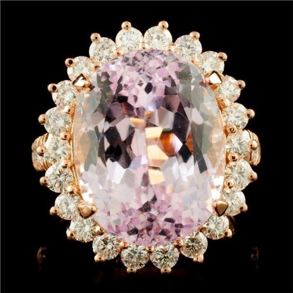 14K Gold 16.46ct Kunzite & 1.54ctw Diamond Ring