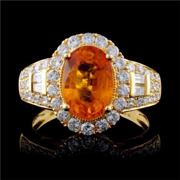 18K Yellow Gold 3.10ct Sapphire & 1.04ct Diamond R