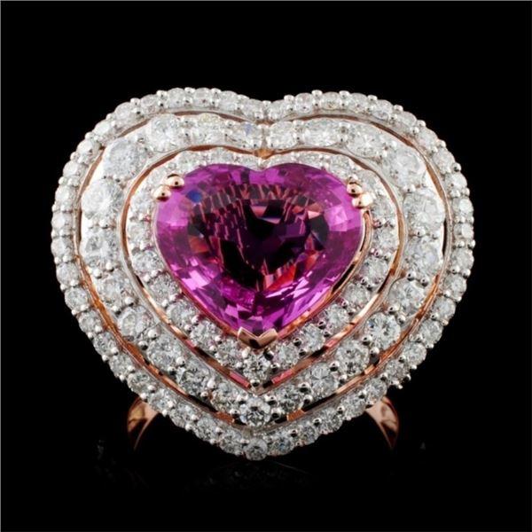 18K Gold 4.02ct Sapphire & 2.44ctw Diamond Ring