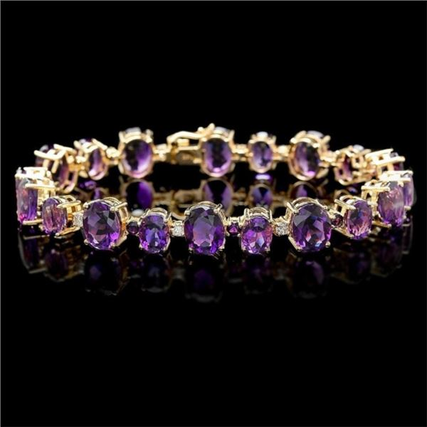 14k Gold 40.00ct Amethyst & 1.00ct Diam Bracelet