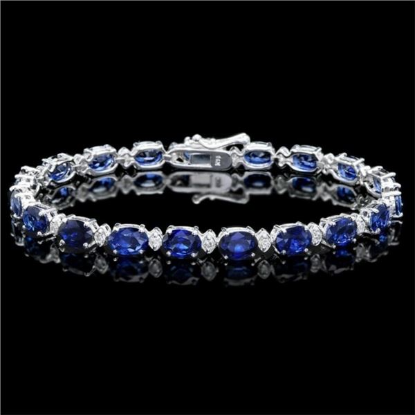 14k Gold 15.00ct Sapphire & 0.50ct Diam Bracelet