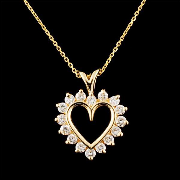 14K Gold 0.48ctw Diamond Pendant