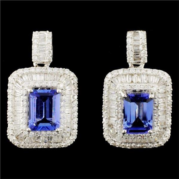 18K Gold 3.08ctw Tanzanite & 1.87ctw Diamond Earri
