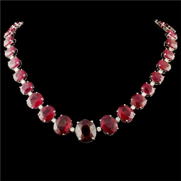 14K Gold 170.00ct Ruby & 3.70ctw Diamond Necklace