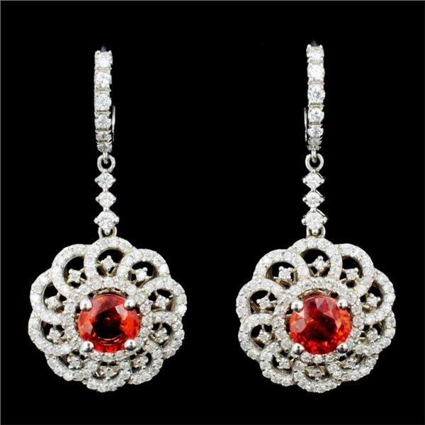 14K Gold 2.00ct Sapphire & 1.50ctw Diamond Earring