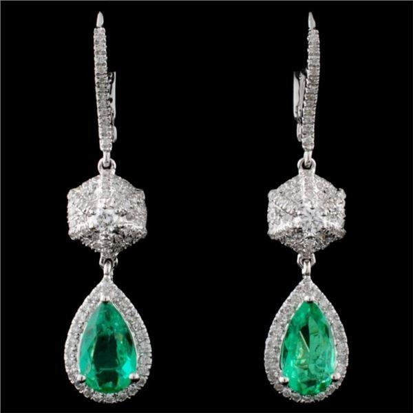 18K White Gold 1.51ct Emerald & 0.73ct Diamond Ear