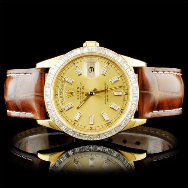 Rolex 18K YG Day-Date Baguette Diamond Watch
