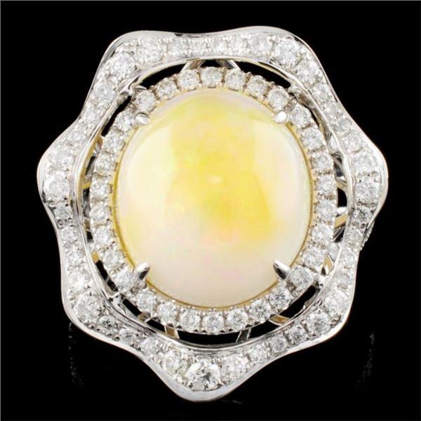 14K Gold 5.27ct Opal & 0.90ctw Diamond Ring
