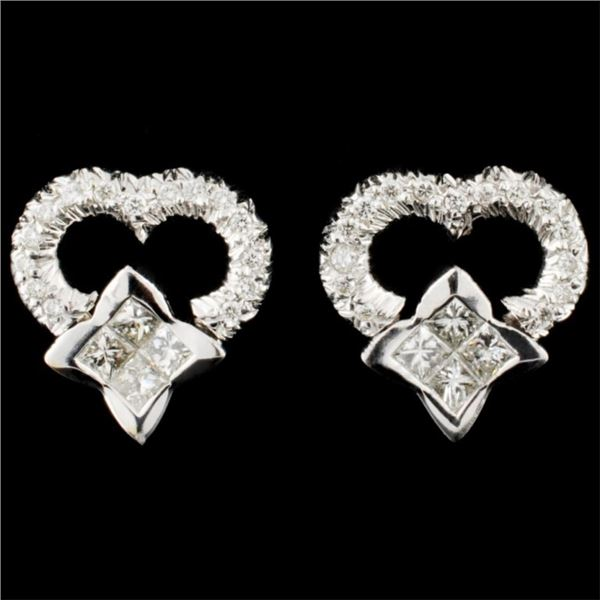 18K Gold 0.81ctw Diamond Earrings