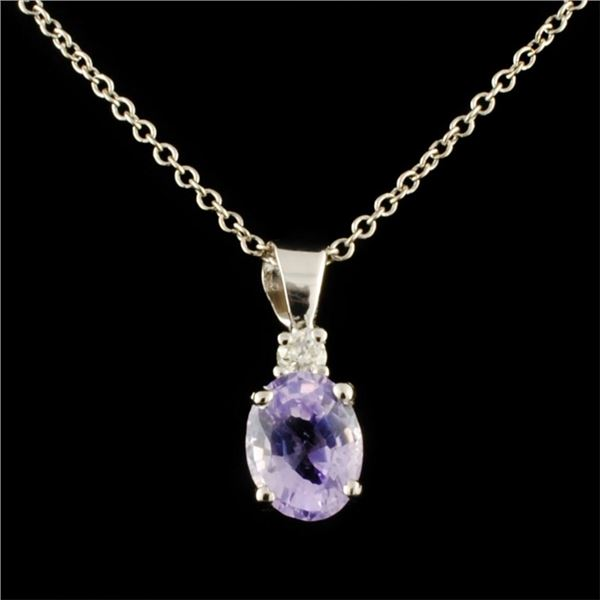 14K Gold 0.77ct Sapphire & 0.06ctw Diamond Pendant