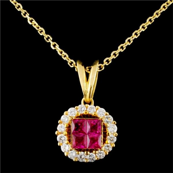 18K Gold 0.85ctw Ruby & 0.47ctw Diamond Pendant