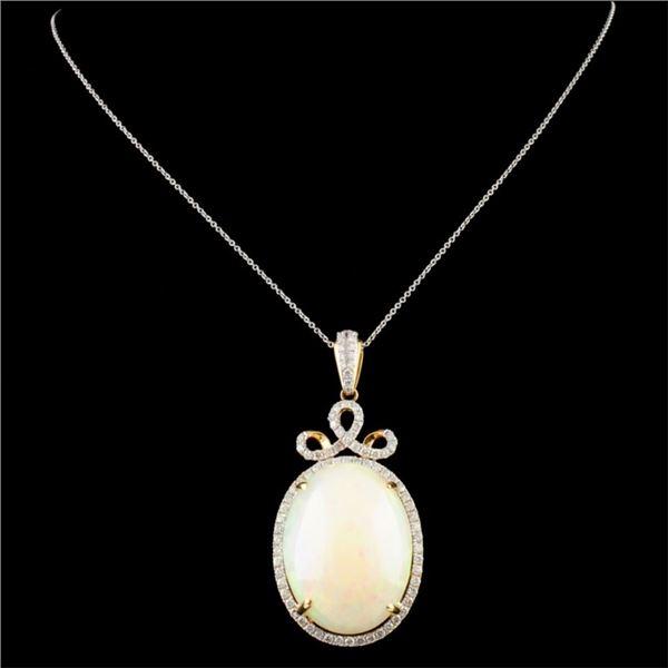 14K Gold 34.45ct Opal & 1.55ctw Diamond Pendant