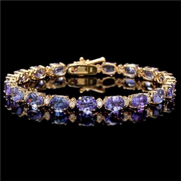 `14k Gold 17.00ct Tanzanite & 0.70ct Diamond Brace