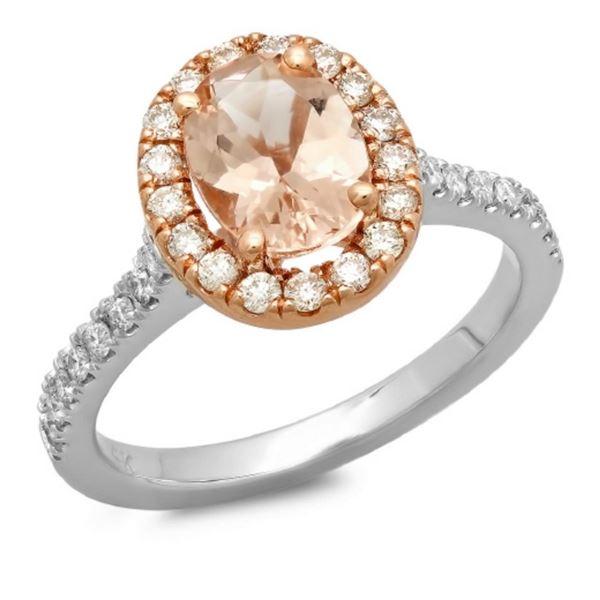 14K Gold 1.50ct Morganite & 0.55ct Diamond Ring