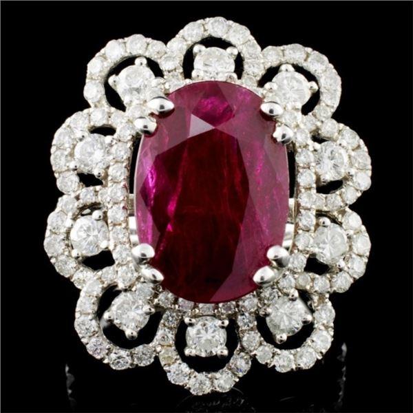 18K Gold 6.07ct Ruby & 1.80ctw Diamond Ring