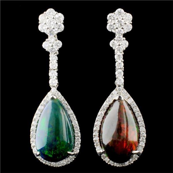 14K Gold 5.39ct Opal & 1.09ctw Diamond Earrings