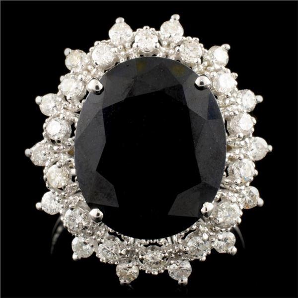 14K Gold 6.92ct Sapphire & 0.75ctw Diamond Ring