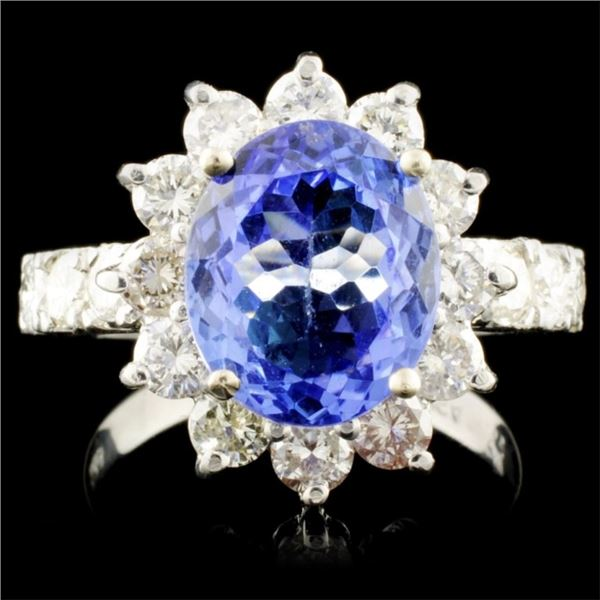 14K Gold 4.57ct Tanzanite & 1.64ctw Diamond Ring