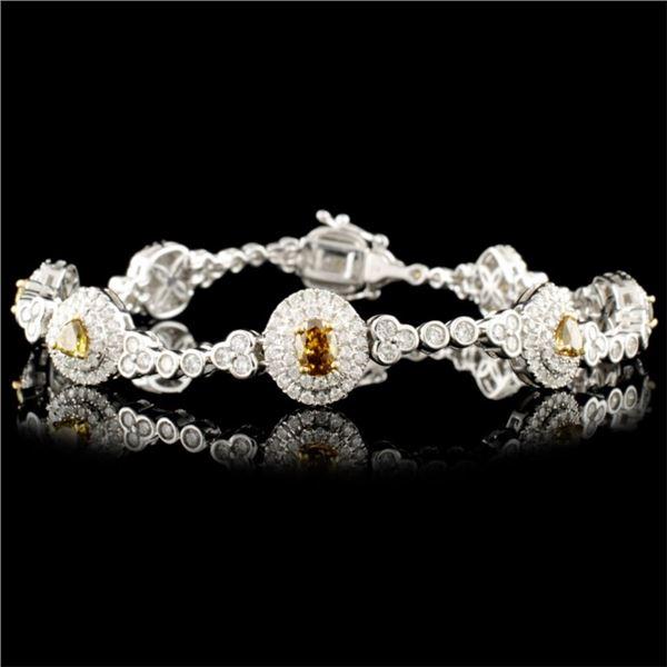 18K Gold 3.81ctw Fancy Diamond Bracelet