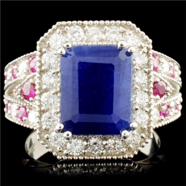 14K Gold 5.18ct Sapphire & 0.84ctw Diamond Ring