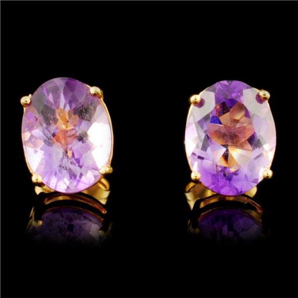 14K Gold 3.40ctw Amethyst Earrings