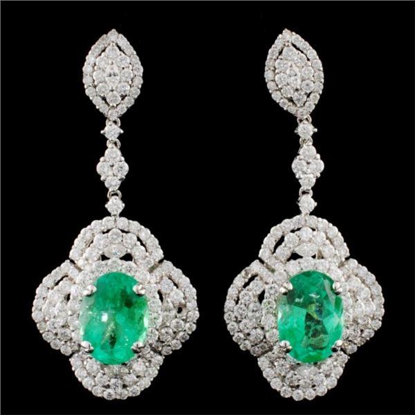 18K Gold 5.74ctw Emerald & 4.31ctw Diamond Earring