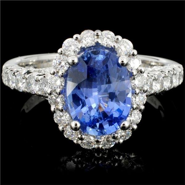 18K Gold 2.14ct Sapphire & 0.68ct Diamond Ring
