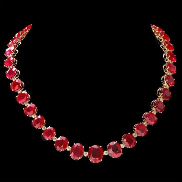 14k Gold 135.00ct Ruby & 4.00ct Diamond Necklace