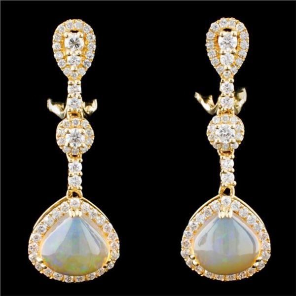 14K Gold 3.30ctw Opal & 1.20ctw Diamond Earrings