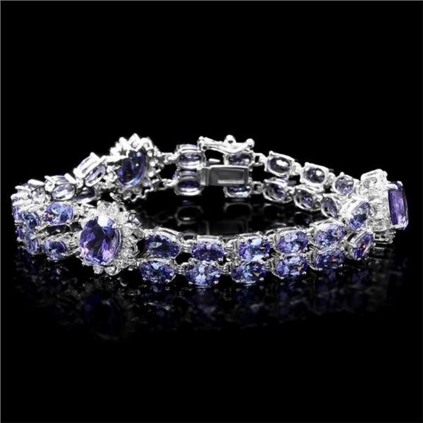 `14k Gold 20.00ct Tanzanite & 1.50ct Diamond Brace