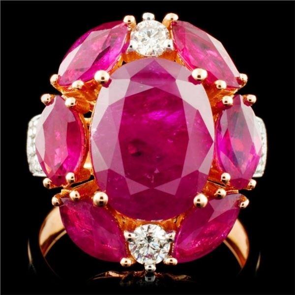 18K Rose Gold 6.92ct Ruby & 0.48ct Diamond Ring