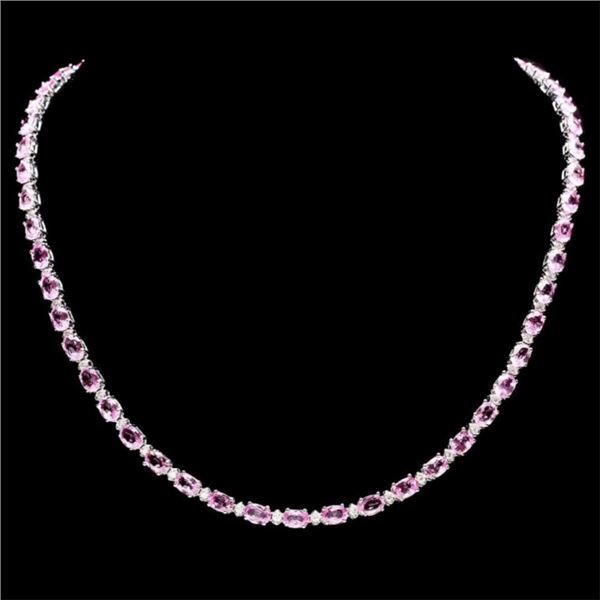 `14k Gold 25.00ct Sapphire & 1.35ct Diamond Neckla
