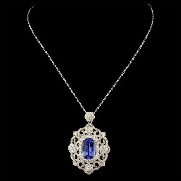 18K Gold 2.90ct Sapphire & 1.56ctw Diamond Pendant