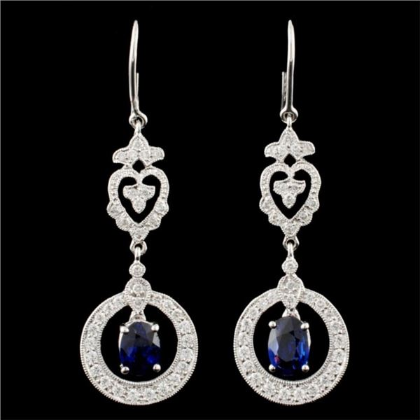 18K Gold 1.30ctw Sapphire & 0.58ctw Diamond Earrin