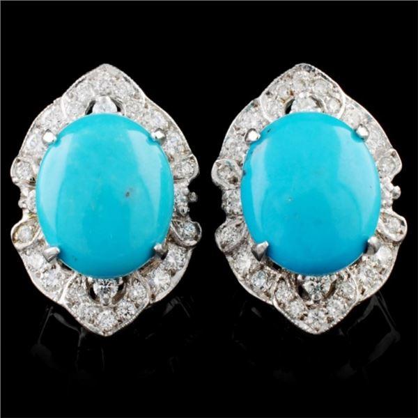 14K Gold 5.50ctw Turquoise & 0.86ctw Diamond Earri