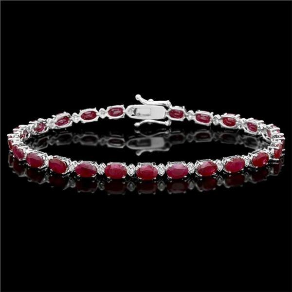 14k Gold 14.00ct Ruby & 0.50ct Diamond Bracelet